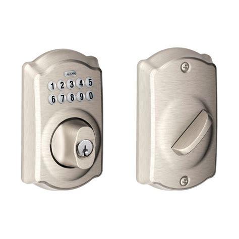 keypad door knob schlage camelot satin nickel keypad deadbolt be365 619