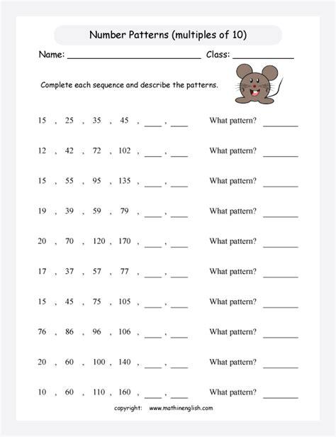 printable math worksheet grade 3 math patterns
