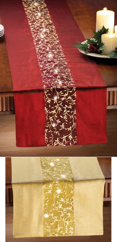 red table runner with 5 led lights lighted table runner indoor decoration