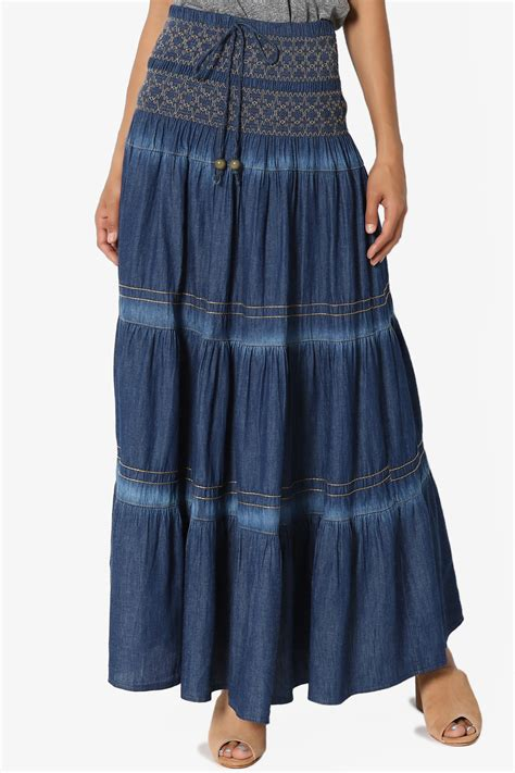 embroidered a line maxi skirt themogan 39 s embroidered tiered a line smocked waist
