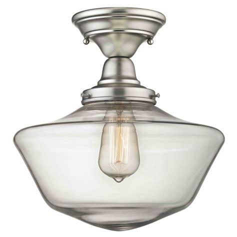 nickel semi flush ceiling lights 12 inch satin nickel clear glass schoolhouse semi flush