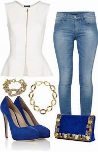 Light Blue Jeans Outfit Fashion Jeans With Heels Fashion White Peplum Tops