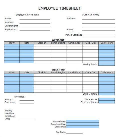 60+ Sample Timesheet Templates  Pdf, Doc, Excel Free