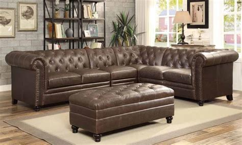 roy brown leather traditional sectional  tufted rolled