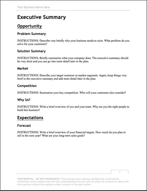 business plan template   bplans