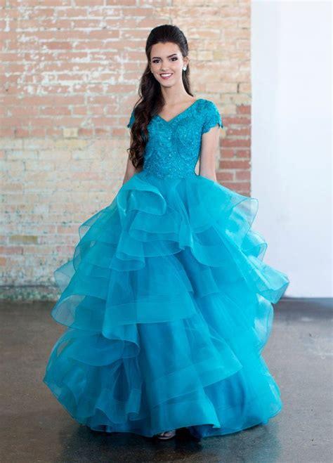 Teal Modest Layered Tulle Dress   Modest dresses, Ball ...