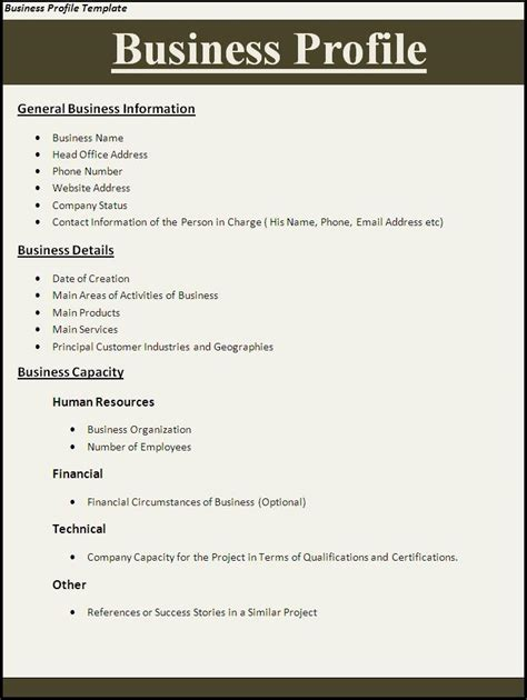 html profile template business profile template professional word templates