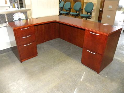 used l shaped desk used r series veneer l shaped desk with double pedestals