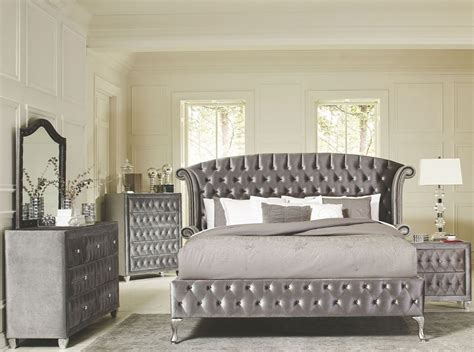 deanna grey velvet queen platform bed  savvy