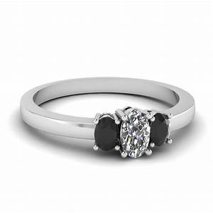 delicate 3 stone engagement ring with black diamond in 14k With black stone wedding rings