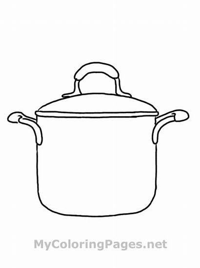 Coloring Kitchen Pages Cooking Pot Printable Sheets