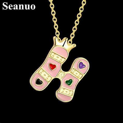 Seanuo 14 Shapes Light Yellow Gold Color H Letter Chunky