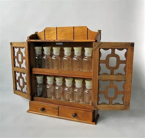 Wooden Apothecary Cabinet by Vintage Wooden Spice Rack Box Apothecary Cabinet With
