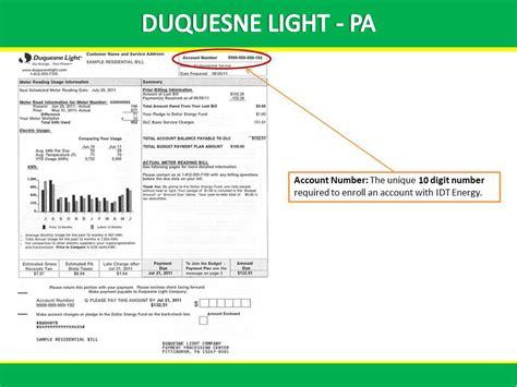 duquesne light customer service duquesne light bill exle