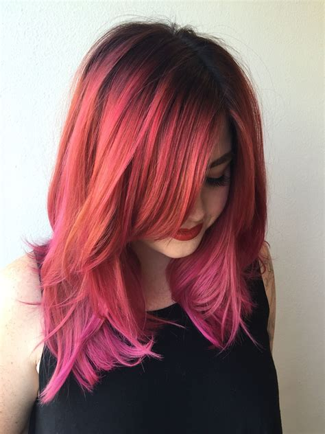 Dark Root To A Deep Copper Pink To A Fushia Pink Hair