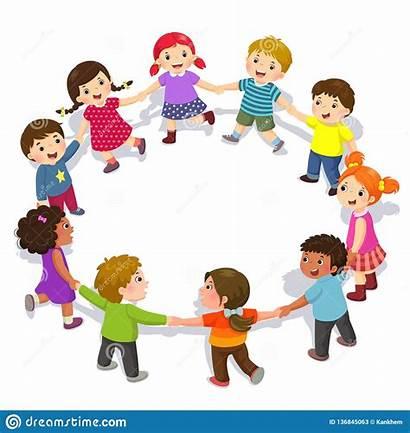Holding Hands Circle Happy Boys Having Fun