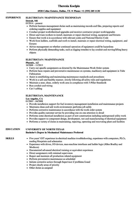 electrician maintenance resume samples velvet jobs