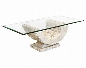 Coral mactan stone glass coffee table for Stone base glass top coffee table