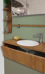 Meuble Salle De Bain Promo Destockage : meubles de salle de bain bambou caramel huil destockage modele expo atlantic bain ~ Teatrodelosmanantiales.com Idées de Décoration