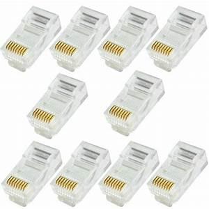 10x Rj45 Cat5e Cable Crimp Connectors