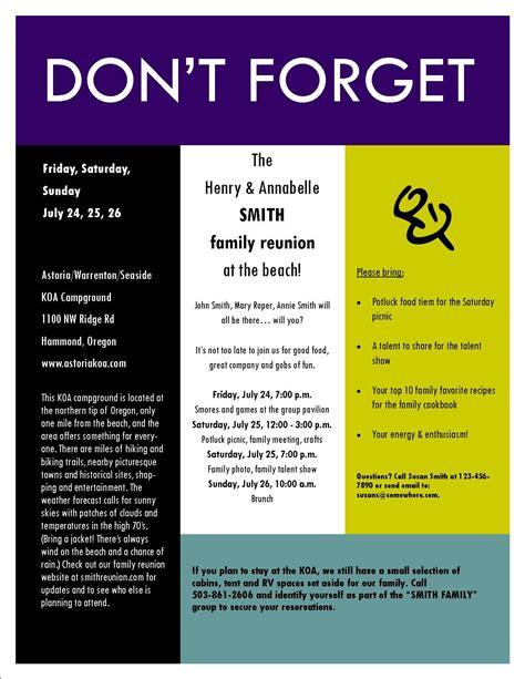 sample family reunion invitation flyer reunion