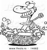 Outline Turtle Cartoon Coloring Shell Bathtub Bathing Vector Tub Bath Suds Royalty Designs sketch template