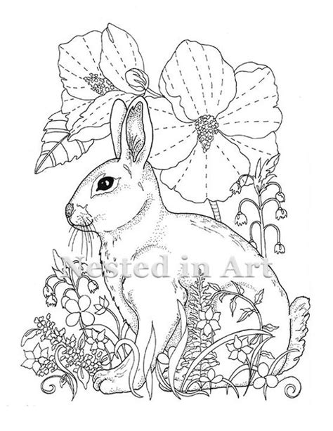 adult coloring page bunny  hibiscus digital  etsy