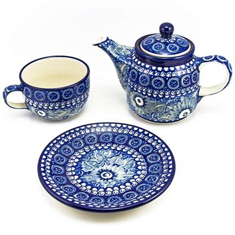 polish art center unikat polish stoneware teapot cup and