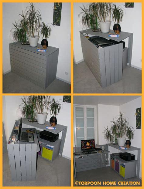bureau en palette diy un bureau caché réalisé avec des palettes floriane