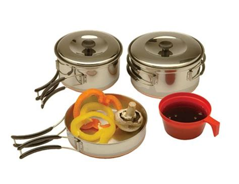 nesting camp cooking set portable camping pan cookware kit stainless steel ebay