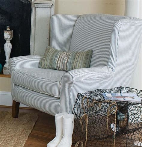 Striped Sofas by Blue White Striped Fabric Classic Sofa Oversize Chair