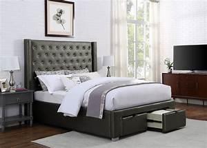 Brassex, Inc, Luxor, King, Platform, Bed, W, Storage, Grey