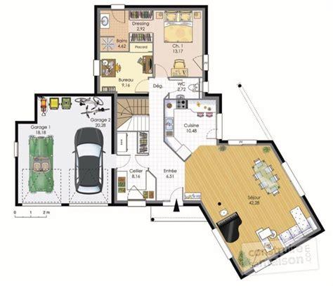 meuble bibliothèque bureau intégré maison contemporaine dé du plan de maison