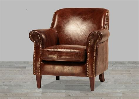 hand finished vintage leather club chair  antique
