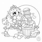 Coloring Fairy Frosting Adults Cupcake Justcolor Cartoon sketch template