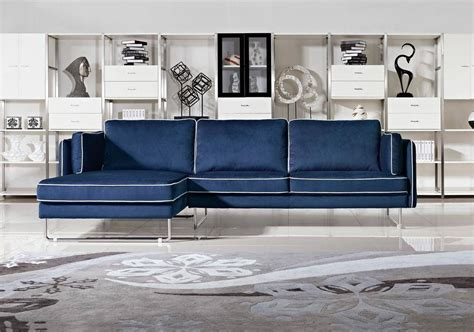 fabric sofas and sectionals contemporary blue fabric sectional sofa with white piping