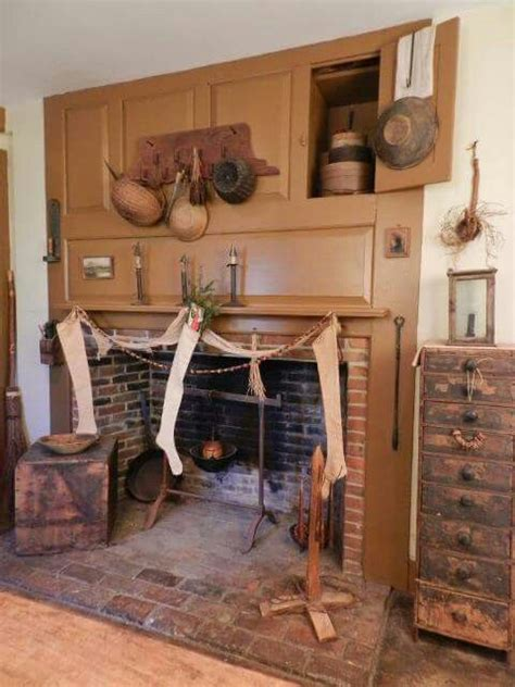 mustard fireplace  cubbies early colonial primitive