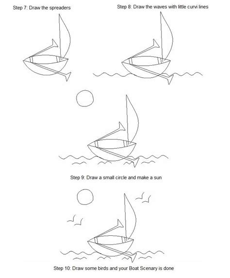 How To Draw A Boat Kindergarten by How To Draw A Boat Printable Instructions Of How To Draw