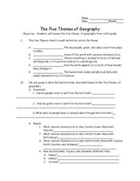 the five themes of geography worksheet for 7th 9th grade lesson planet