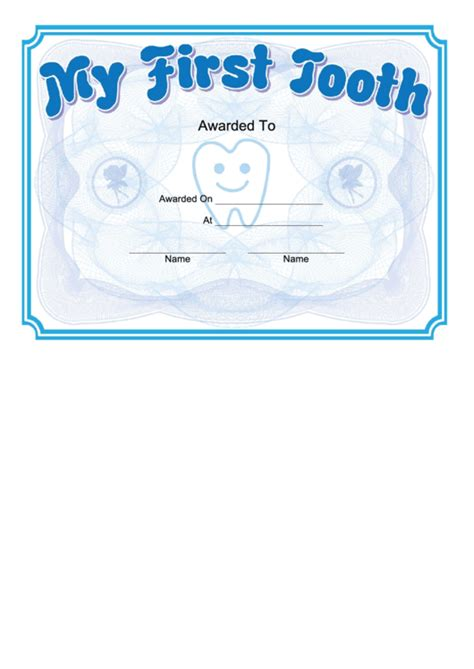tooth certificate template printable