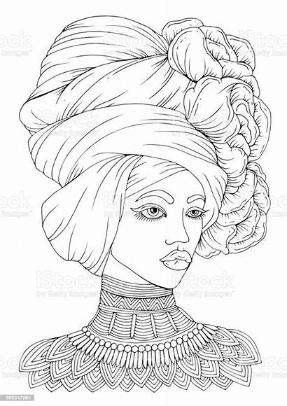 Woman Portrait Vector Drawn Hand African American