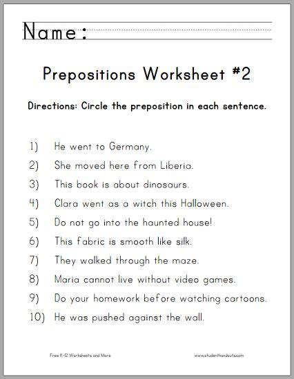 circle the prepositions worksheet for grade free