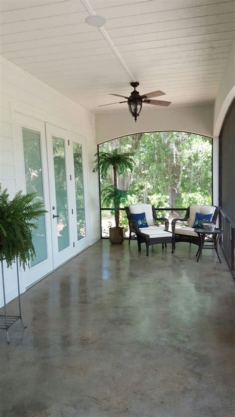 ideas  stained concrete porch  pinterest