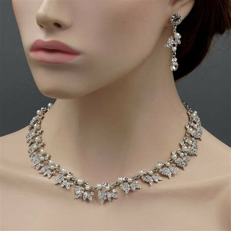 Wedding Jewelry by Rhodium Plated Pearl Necklace Earrings Bridal