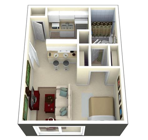 tiny house floor plans and 3d home plan 300 square