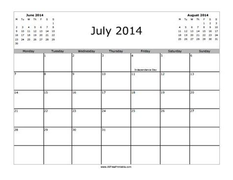 Gallery June And July 2014 Calendar Printable