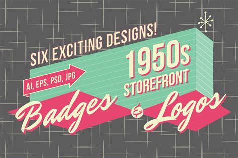 1950s retro logos and badges vinatge stlye creative tools