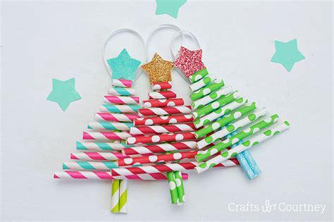 Kids Decorative Paper Straw Christmas Tree Ornaments