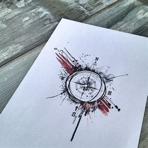 Bunette  Abstract Trash Polka Compass  Compass Tattoo