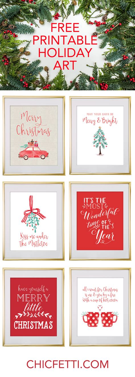 Christmas Free Printable Wall Art  Download Free Christmas Art Chicfetti
